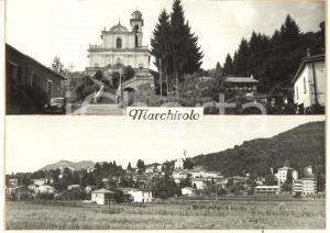 1965 ca MARCHIROLO (VA) Vedutine - Chiesa San Martino *Bozzetto cartolina 21x15
