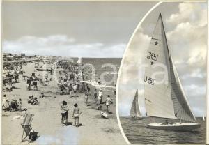 1965 ca RICCIONE Spiaggia affollata - Barca a vela *Bozzetto per cartolina 30x21