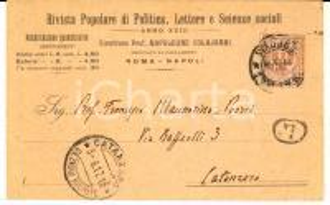 1917 NAPOLI Cartolina Rivista Popolare di Politica - Napoleone COLAJANNI