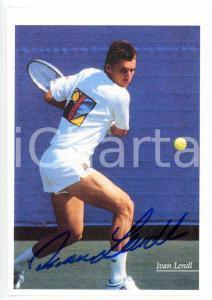 1990 ca TENNIS Ritratto di Ivan LENDL in campo *Foto seriale con AUTOGRAFO 10x15