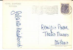 1959 RICCIONE Cartolina Gabriella ANDREINI a Remigio PAONE - AUTOGRAFA