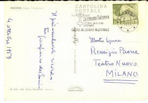 1959 ASCONA Cartolina Gianfranco DE BOSIO a Remigio PAONE - AUTOGRAFA