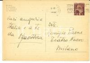 1946 ROMA Cartolina attrice Olga Vittoria ANDREINI a Remigio PAONE - AUTOGRAFO