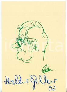 2002 CINEMA Attore Walter GILLER - Cartolina con bozzetto ILLUSTRATO - AUTOGRAFO