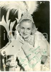 1945 ca TEATRO Attrice Elena GIUSTI in pelliccia *Foto con AUTOGRAFO DANNEGGIATA
