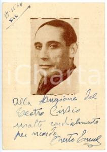 1940 TEATRO Attore Oreste TRUCCHI - Cartolina postale con AUTOGRAFO 10x15 cm