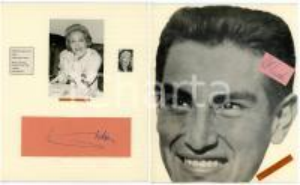 1959 Marlene DIETRICH - Alex OLMEDO - Collage con AUTOGRAFI 20x24 cm