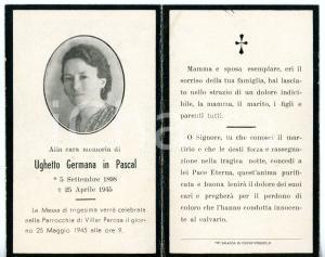 1945 VILLAR PEROSA In memoria di Germana UGHETTO in PASCAL *Santino ILLUSTRATO