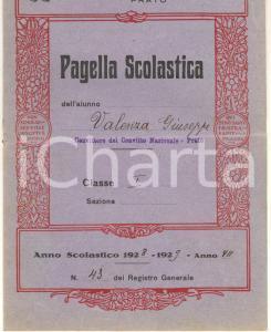 1929 PRATO Regio Ginnasio CICOGNINI - Pagella Giuseppe VALENZA *DANNEGGIATA