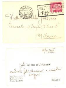 1935 MILANO Biglietto da visita dott. Mario D'ONOFRIO - Autografo
