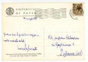 1958 Università di PAVIA Cartolina Enrica MALCOVATI per ringraziamento AUTOGRAFO