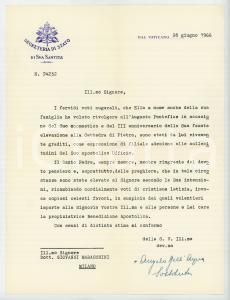 1966 VATICANO Mons. Angelo DELL'ACQUA - Lettera di ringraziamento AUTOGRAFO