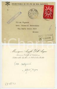 1963 VATICANO Mons. Angelo DELL'ACQUA - Segreteria di Stato *Biglietto AUTOGRAFO