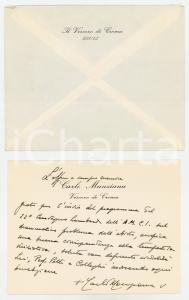 1972 CREMA Mons. Carlo MANZIANA - Biglietto di ringraziamento AUTOGRAFO