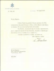 1973 VATICANO Segreteria di Stato - Mons. Eduardo MARTINEZ SOMALO *AUTOGRAFO