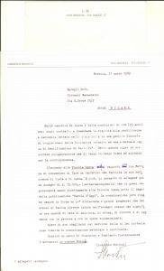 1989 BRESCIA Lettera Lodovico MONTINI pro