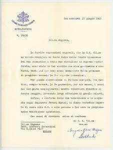 1967 VATICANO Mons. Angelo DELL'ACQUA - Lettera di ringraziamento AUTOGRAFO