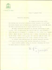 1964 CREMA Lettera vescovo Franco COSTA per consiglio - AUTOGRAFO