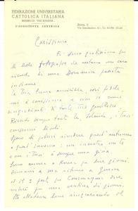 1955 ROMA FUCI Lettera mons. Franco COSTA a un amico - AUTOGRAFO