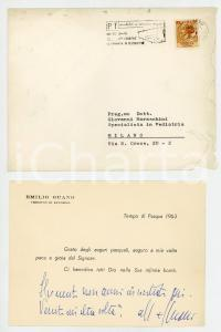 1963 LIVORNO Auguri mons. Emilio GUANO per la Pasqua - AUTOGRAFO