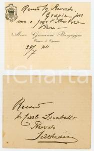 1944 VIGEVANO Biglietto mons. Giovanni BARGIGGIA al prevosto Locatelli AUTOGRAFO