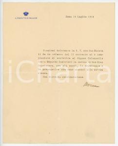 1919 ROMA Lettera Giovanni Battista BOREA D'OLMO per onorificenza - AUTOGRAFO