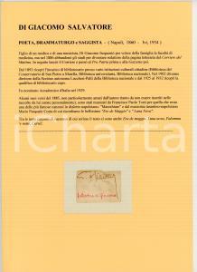 1900 ca Salvatore DI GIACOMO - Scrittore - AUTOGRAFO su carta (frammento)