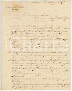 1885 MILANO Lettera Francesco TURATI per nuovo campionario - AUTOGRAFO