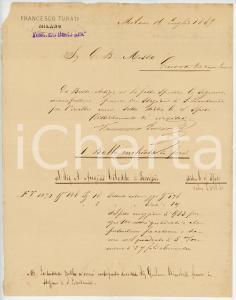 1887 BUSTO ARSIZIO Ditta Francesco TURATI - Nota di spedizione - AUTOGRAFO