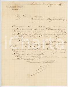 1885 MILANO Lettera imprenditore Francesco TURATI per saldo ordini - AUTOGRAFO