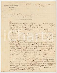 1885 MILANO Lettera Francesco TURATI per spedizione ordini - AUTOGRAFO