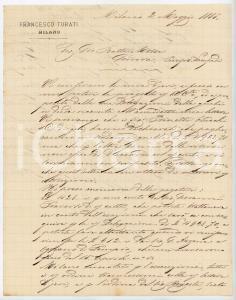 1885 MILANO Lettera Francesco TURATI per ordini da saldare - AUTOGRAFO
