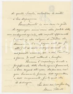 1950 MILANO Lettera Mario ABBIATE pro Scuola Agraria Femminile - AUTOGRAFO