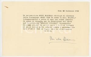 1955 ROMA Ricevuta soprano Mariella ADANI per documentario - AUTOGRAFO