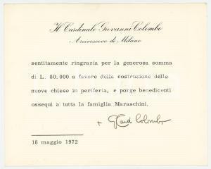 1972 MILANO Card. Giovanni COLOMBO arcivescovo - Biglietto AUTOGRAFO