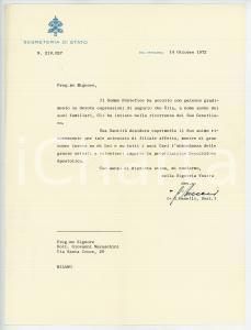 1972 VATICANO Mons. Giovanni BENELLI - Lettera benedizione AUTOGRAFO