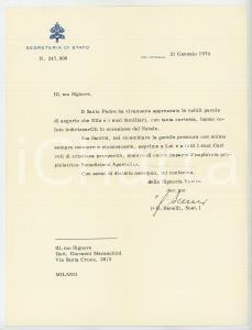 1974 VATICANO Mons. Giovanni BENELLI - Lettera per ringraziamento *AUTOGRAFO