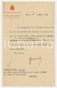 1924 ROMA Lettera Alessandro GUGLIELMINETTI Ministero Lavori Pubblici ^AUTOGRAFO