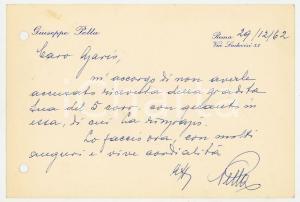 1962 ROMA Biglietto on. Giuseppe PELLA per auguri - AUTOGRAFO