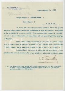 1910 GENOVA Lettera Francis Edward FREEMANTLE per rinnovo affitto - AUTOGRAFO