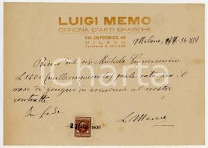 1936 MILANO Ricevuta Luigi MEMO - Officina d'Arti Grafiche - AUTOGRAFO