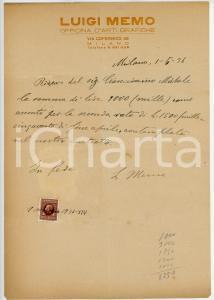 1936 MILANO Ricevuta Luigi MEMO - Officina d'Arti Grafiche *AUTOGRAFO