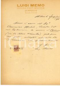 1936 MILANO Lettera tipografo Luigi MEMO per riscossione di credito *AUTOGRAFO