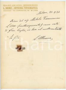 1936 MILANO Ricevuta Luigi MEMO - Officina Tipografica - AUTOGRAFO