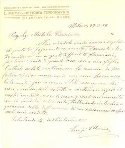 1936 MILANO Lettera tipografo Luigi MEMO per riscossione credito - AUTOGRAFO