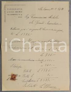 1937 MILANO Tipografo Luigi MEMO - Fattura per stampa
