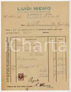 1936 MILANO Arti Grafiche Luigi MEMO - Fattura per volume avventure *Autografo