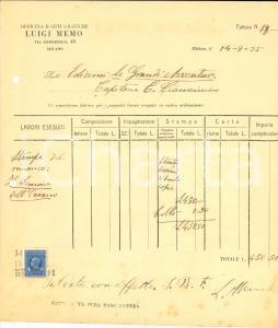 1935 MILANO Tipografo Luigi MEMO - Fattura per romanzo