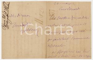 1877 ROMA Lettera Agostino BERTANI per questione finanziaria *AUTOGRAFO