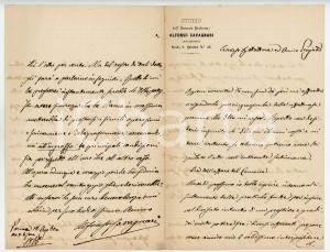 1866 PARMA Lettera Alfonso CAVAGNARI per gestione prestito - AUTOGRAFO